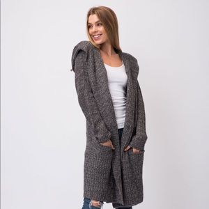 Chunky Two Toned Knit Hoodie Cardigan